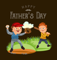 dad in baseballcap with ball and glove hand vector image