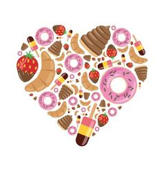 Desserts in heart vector