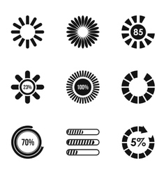 Download icons set simple style vector
