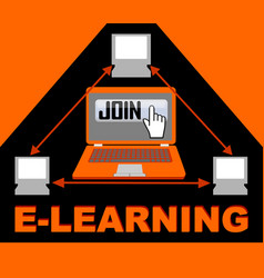 E-learning banner with group of computers in vector