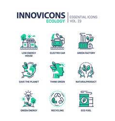 Ecology - modern color single line icons vector