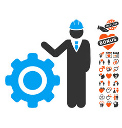Engineer with gear icon with valentine bonus vector