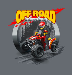 Extreme red off road quad bike vector