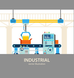 Factory or plant automated assembly line vector