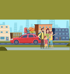 family go to road trip happy mom dad and children vector image
