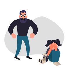 Family violence and aggression concept vector