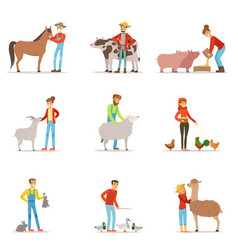 Farmers breeding livestock farm profession worker vector