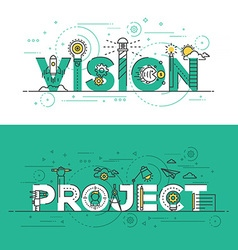 Flat design line concept banner vision and project vector