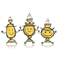 Funny samovars sketch for your design vector image