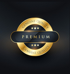 Genuine premium quality golden label design vector