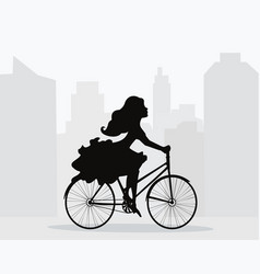 Girl rides bicycle on background of city vector