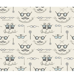 Glasses Labeles Sketchy Drawing Seamless Pattern vector image