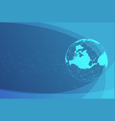 global network lines connection world map point vector image