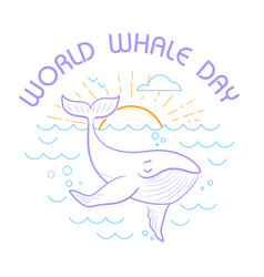 Greeting cardworld whale day vector
