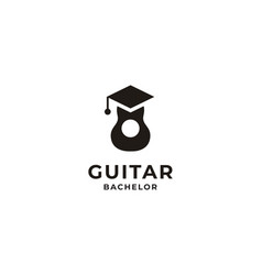 Guitar graduate university logo design vector