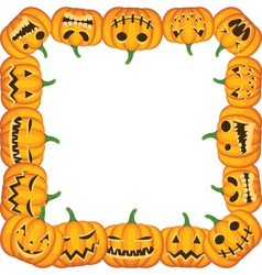 halloween frame with pumpkins vector image