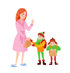 Happy mother prepares her sons for school vector
