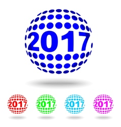happy new year 2017circle logotext design vector image