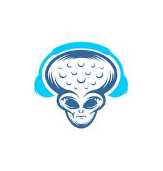 Headphone alien logo design alien design template vector
