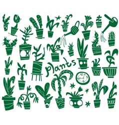 Houseplants - doodles set vector