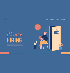 Hr recruitment website landing page candidate vector