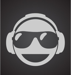 Icon men dj in headphone and shutter shades vector