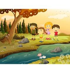 Kids at the riverbank vector