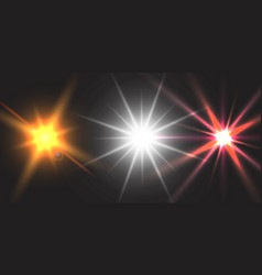 Light effect glow star flashed sequins vector