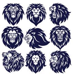 lion logo set collection design vector image