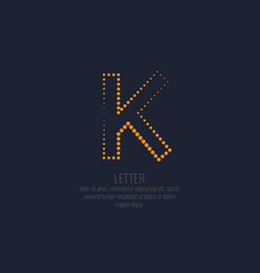 modern dotted letter k of the latin alphabet vector image
