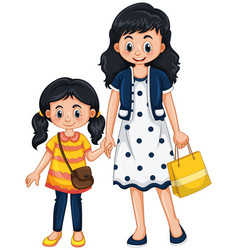 mother and girl holding hands vector image