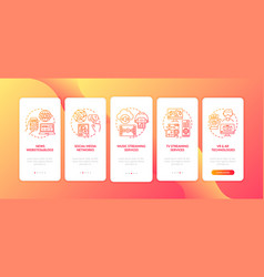 New media examples onboarding mobile app page vector