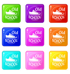 Old school icons set 9 color collection vector