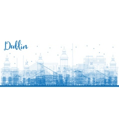 outline dublin skyline with blue buildings vector image
