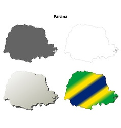 Parana blank outline map set vector image
