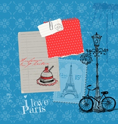 Paris Vintage Card with Stamps vector