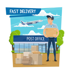 Post office and mail delivery poster with mailman vector