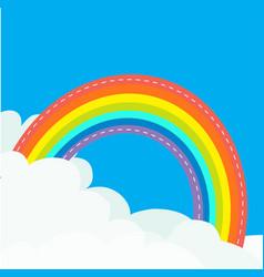 rainbow in sky dash line contour fluffy cloud vector image