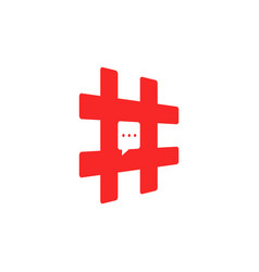 red hashtag icon like short message vector image