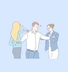 Relationship quarrel jealousy conflict concept vector