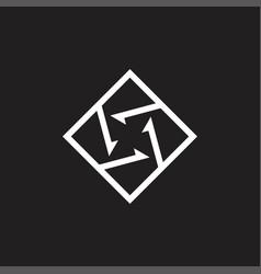 rotation arrows geometric line square logo vector image