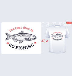 salmon fish t-shirt print design in hand drawn vector image