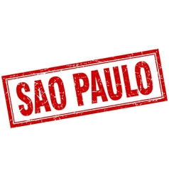 Sao paulo red square grunge stamp on white vector