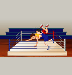 Scene with people doing wrestling in ring vector