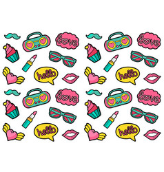 Seamless fashion patches pattern cute and vector