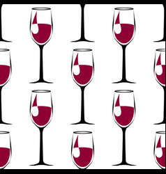 Seamless pattern with black wineglass with wine vector