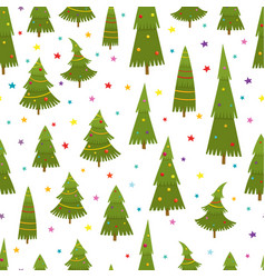 seamless pattern with christmas tree in cartoon vector image