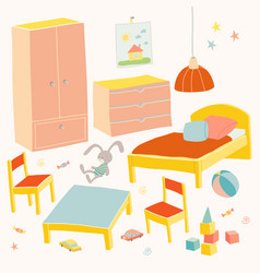 set of furniture for children room kids small vector image