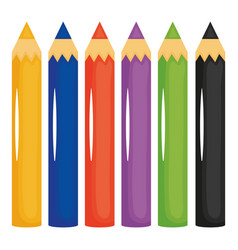 set pencils colors icons vector image