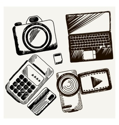 Sheet of paper with camera laptop cash mashines vector image